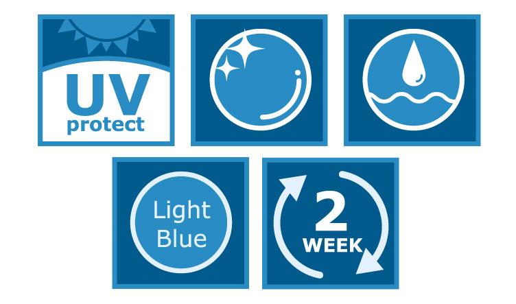 UVカット 汚れにくい 乾きにくい ブルーライト 2週間交換