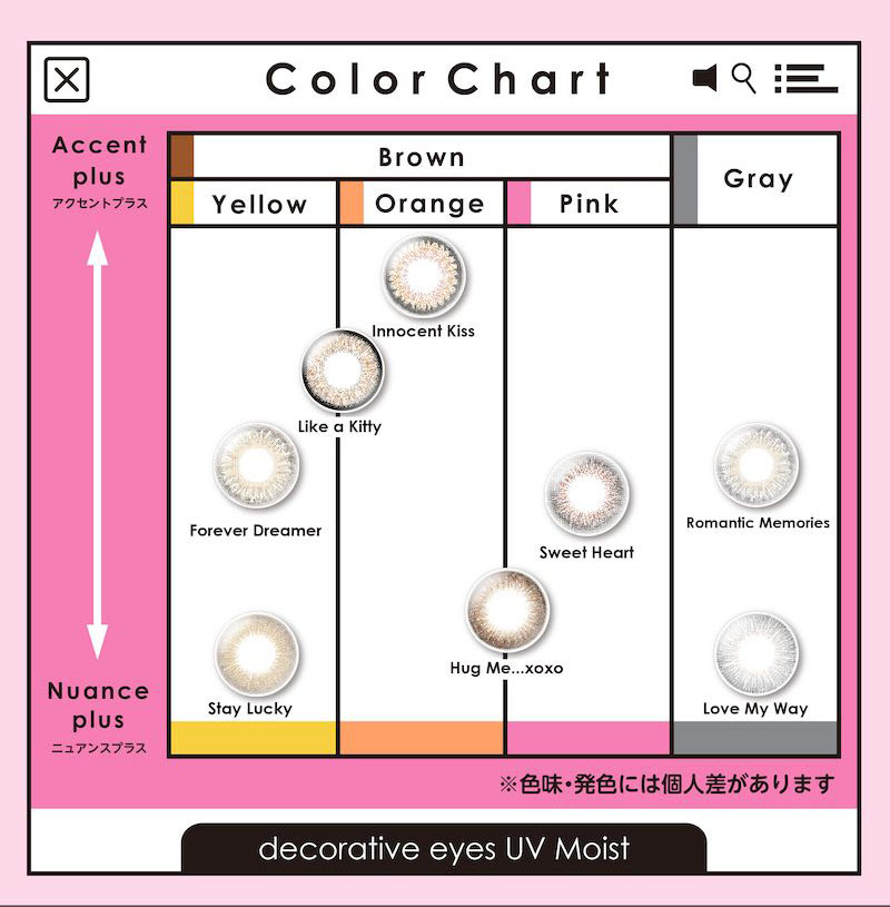 DECORATIVE EIYES UV Moist デコラティブアイズ UVモイスト Color chart
